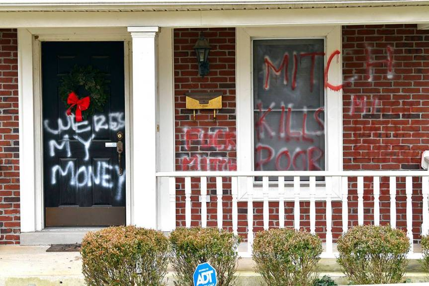 Update: Mitch McConnell's House Vandalized IN ADDITION to Nancy Pelosi's Over American People's Stimulus Frustrations: WHERE'S MY MONEY!? Spraypainted on Mitch McConnell's FrontDoor