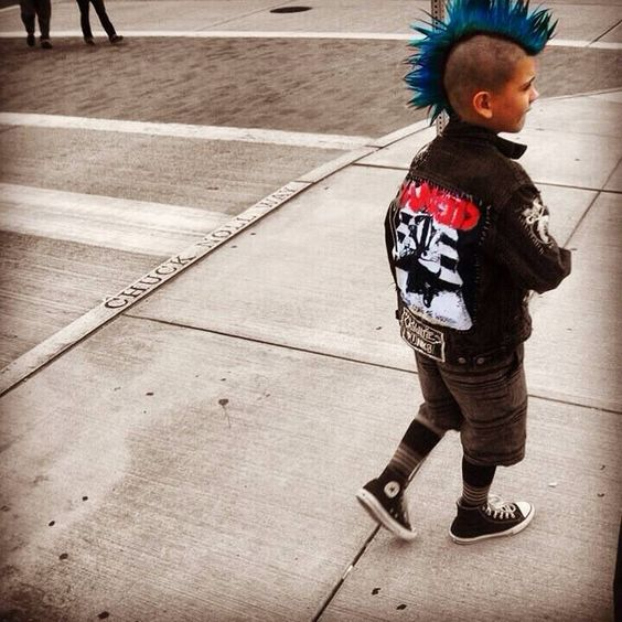 punk rock little kid with mohawk and rancid jacket