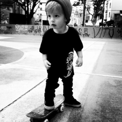 punk rock little kid with skateboard
