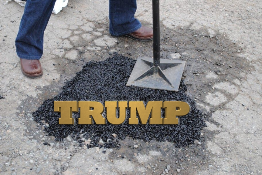 Republicans Refusing to Even Approach Nation's Desperate Need for Infrastructure Plan Unless PreCondition that Every New Public Maintainance Project Emblazoned With Golden 'TRUMP' LogoMet